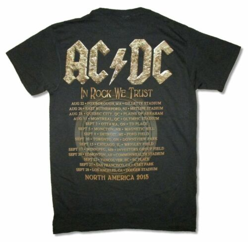 AC//DC In Rock We Trust North America Tour 2015 Black T Shirt New Official