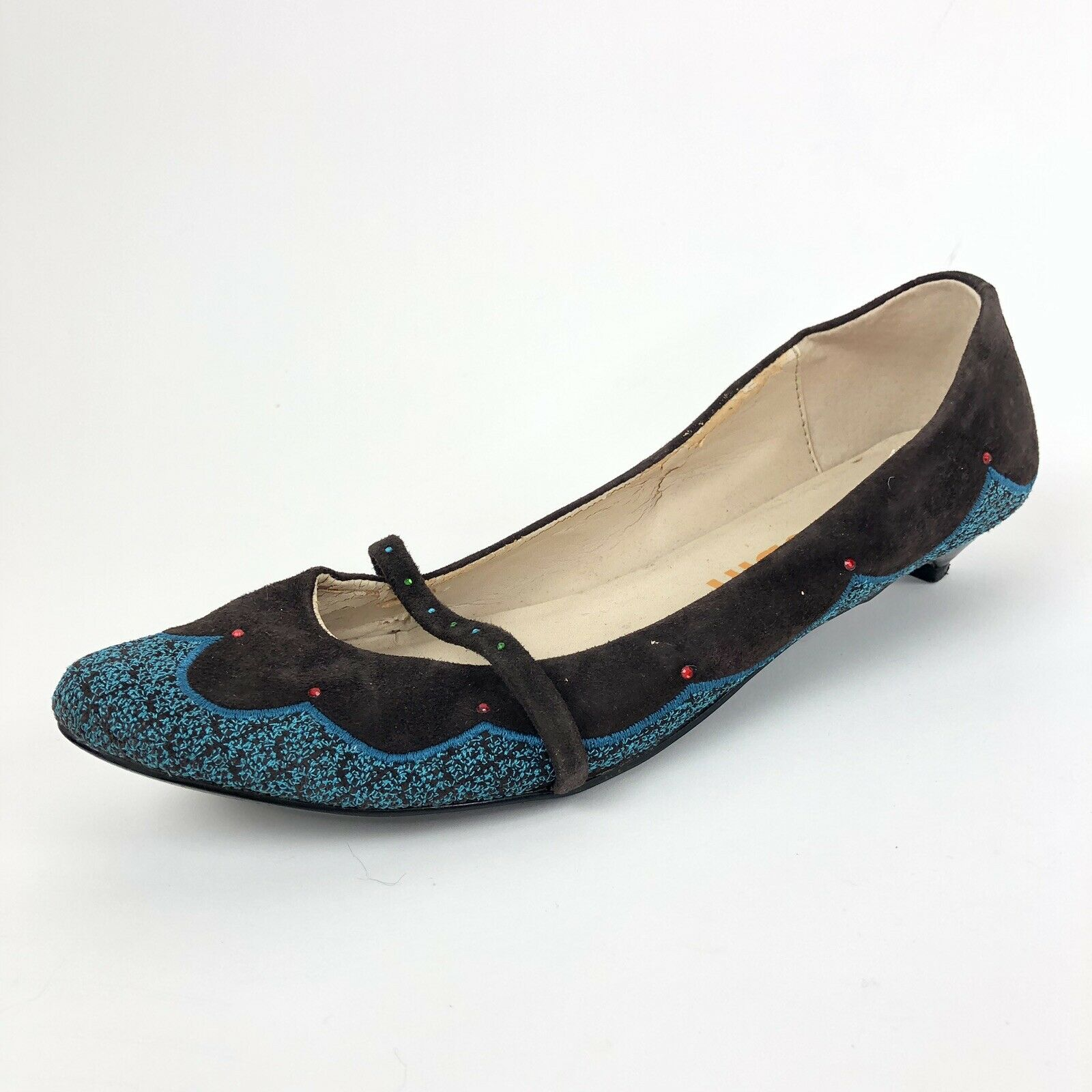 Anthropologie FarylRobin Brown Suede bluee Embroider Kitten Heels   Womens 8.5