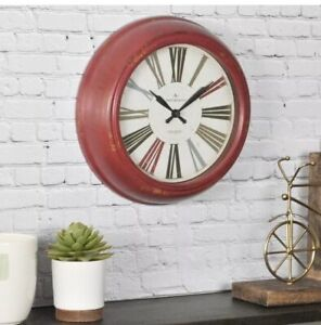 FirsTime-amp-Co-Red-Relic-10-In-Distressed-Finish-Quartz-Round-Wall-Clock