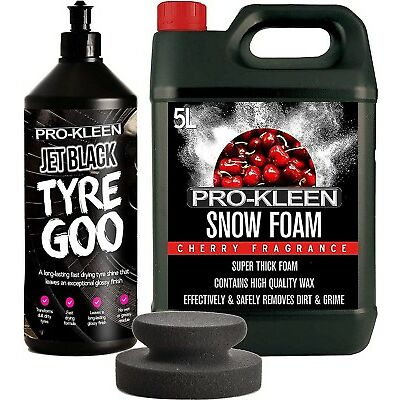 Pro-Kleen 1L Tyre Goo Gel Dressing Revitalises Dull Tyres & Cherry Snow Foam 5L
