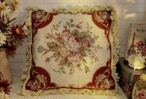 16-034-French-Country-Vintage-Soft-Shabby-Handmade-Needlepoint-Pillow-Cushion