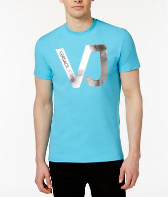 Versace Jeans Men/'s Blue Logo Graphic Print Crew-Neck T-Shirt $225