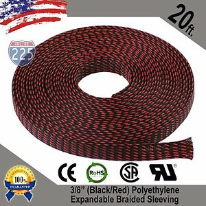 "20 FT 3/8"" Black & Red Expandable Wire Sleeving Sheathing Braided Loom Tubing US"