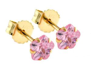 ECHT GOLD *** Winzig kleine Zirkonia Blume Ohrstecker diamantiert 4mm