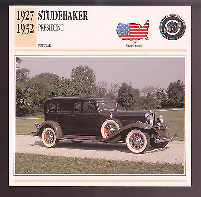 1930 Convertible 1927-1942 Studebaker Commander Car Photo Spec Sheet Stat CARD