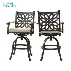 Fantastic Details About Phi Villa Extrawide Cast Aluminum Counter Height Swivel Bar Stools Set 2 Brown Andrewgaddart Wooden Chair Designs For Living Room Andrewgaddartcom