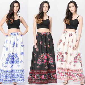 29dd320f30 Vintage Women Boho Maxi Beach Floral Holiday Summer High Waist Long ...