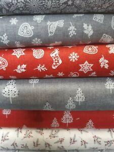 Scandi 2018 Cotton Fabric  Fat Quarter Makower Reindeer Grey