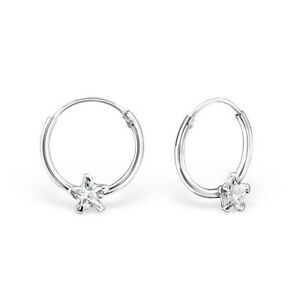 925 sterling silver cubic zirconia cz small hinged hoop