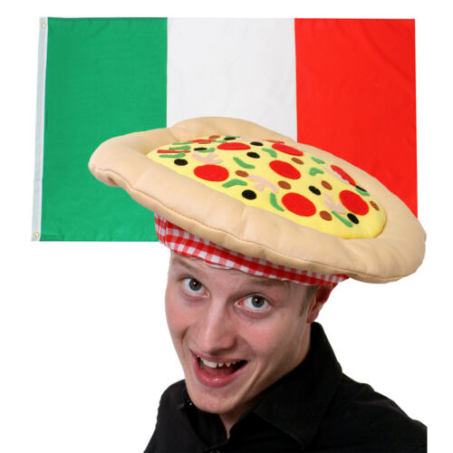 ITALY FLAG /& PIZZA HAT FUNNY SUPPORTERS SET NATIONAL SPORTS FOOTBALL FANCY DRESS