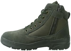 Green-Army-Patrol-Side-Zip-Combat-Mid-Boots-Tactical-Military-Hiking-Suede-980