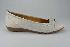 Details zu Gabor Schuhe Damen Ballerina Echtleder bequem weich leicht weiß silber Gr. 36,5