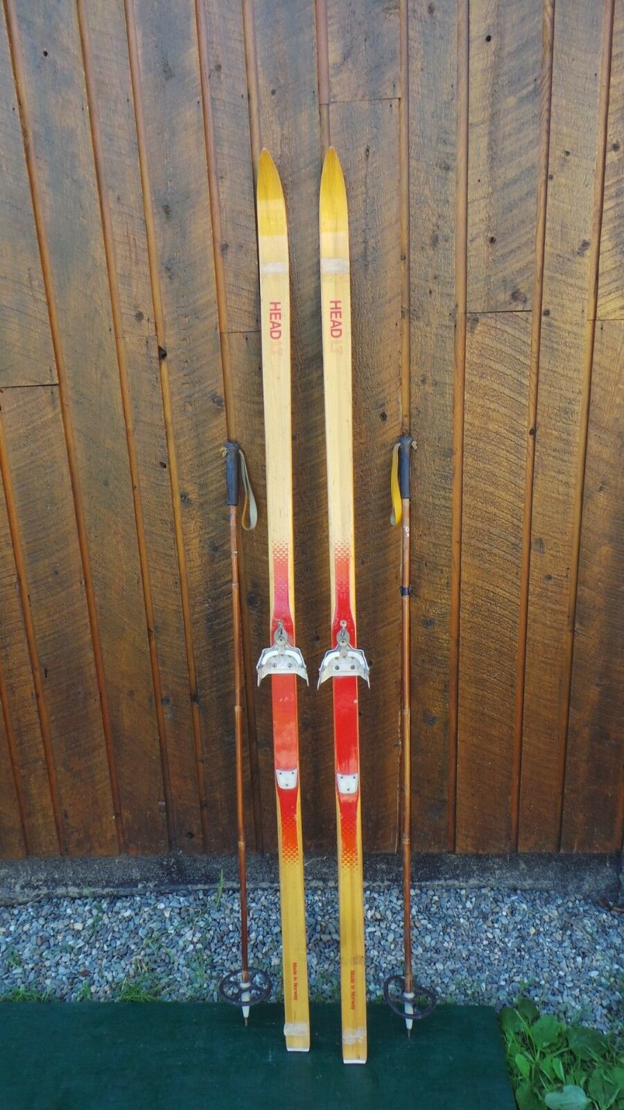 A Very Interesting Vintage  Wooden 74  Long Skis BROWN Finish Signed HEAD  wholesale prices