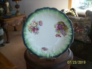 Wine-amp-Lavender-Floral-Spray-Antique-Porcelain-Raised-China-Serving-Bowl