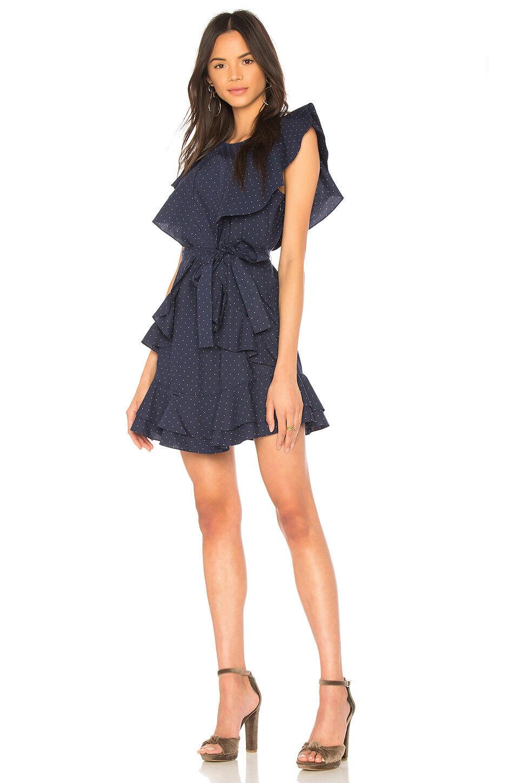 JOIE Navy Pink Polka Dot Malachy Darling Ruffle Ruffle Ruffle Cotton Waist Tie Shirt Dress 8 918d3f