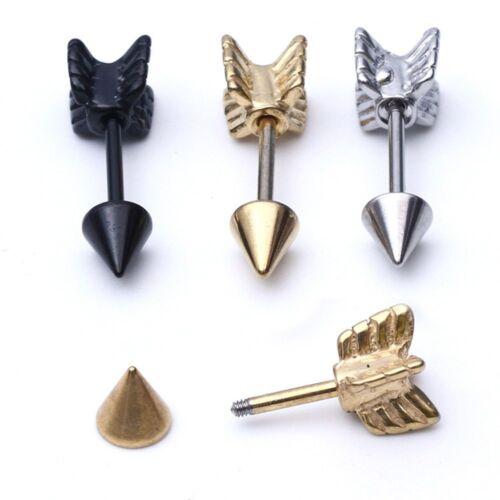 Unisex Body Jewelry Piercing Fake Taper Stud Earring Arrow Shape Ear Tragus