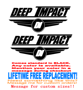 "PAIR OF 12/"" x 29/"" Deep Impact Boat Hull Decals MARINE GRADE YOUR COLOR CHOICE"