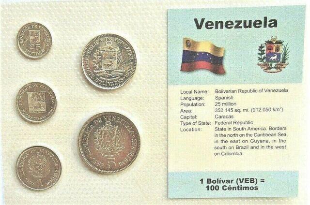 VENEZUELA, SET of 5 GEM UNCIRCULATED COINS