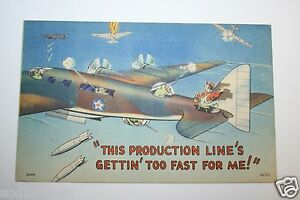 WWII-USAF-Post-Card-034-This-Production-Line-039-s-Gettin-Too-Fast-For-Me-034-Bomber-RARE