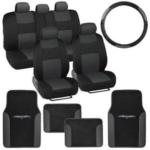 Car Seat Covers Set Black Amp Charcoal W PU Leather Floor