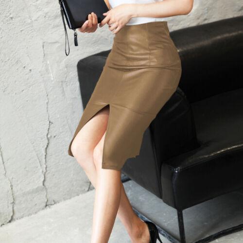 Classique /& Élégance Femme Jupes Mode Moulante en cuir Fendu Slim Midi Robe