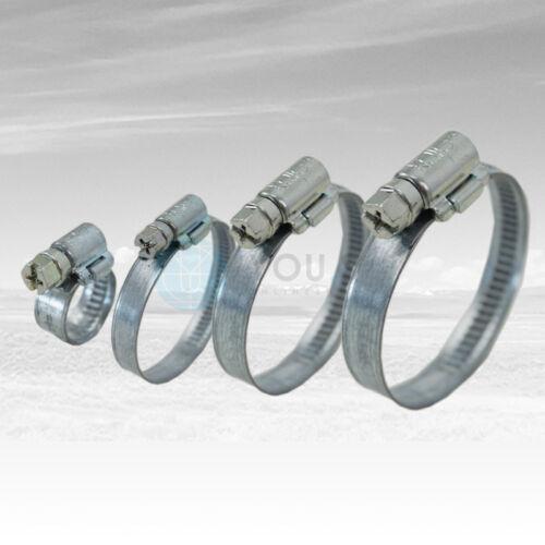 30 Stück 9 mm 70-90mm Schneckengewinde Schlauchschellen Schellen Stahl Verzinkt