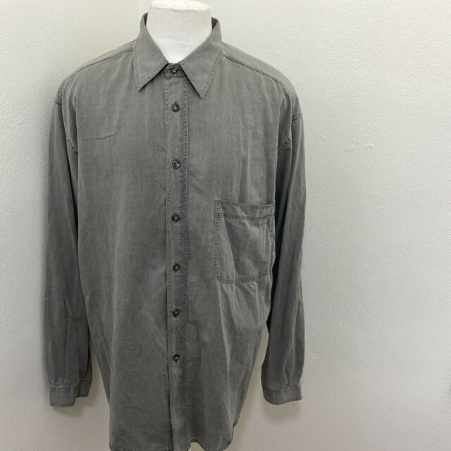 PAL ZILERI MEN'S GRAY COTTON LONG SLEEVE LIGHT JEAN SHIRT SIZE XL C05-04