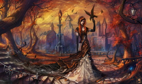 Halloween party art wall decor witch oil painting picture Printed on canvas VIII