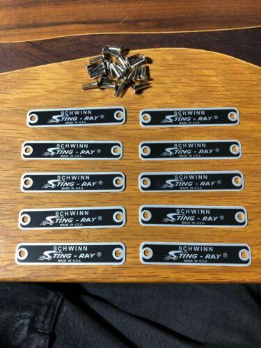 SCHWINN Stingray Seat Tags Genuine 10 Grey Ghost  Peapicker Fastback Apple krate