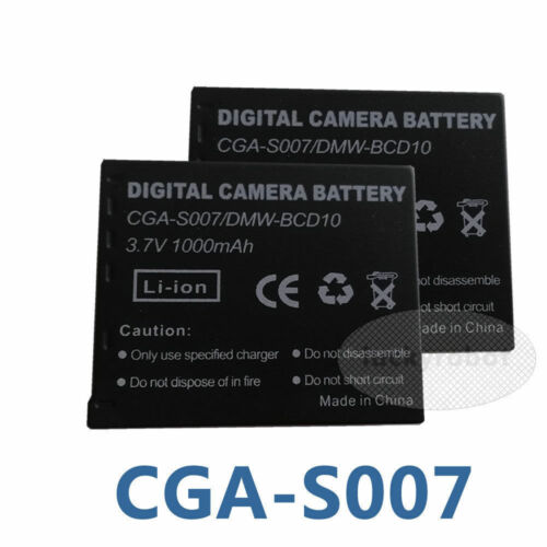 2 un Batería CGA-S007 E para Panasonic Lumix TZ1 TZ3 TZ4 DMC-TZ4 DMC-TZ5 S007