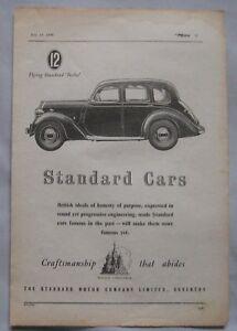 1945 Standard Cars Original advert No6 - Blackburn, Lancashire, United Kingdom - 1945 Standard Cars Original advert No6 - Blackburn, Lancashire, United Kingdom