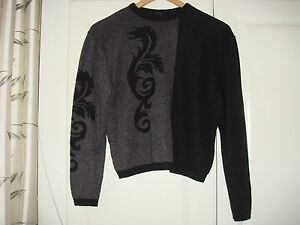 Black Blend Crew Vintage Made Finland Neck Sweater Wool In Grey Jumper Women's a1A0Rqw0