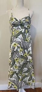 Banana Republic  Floral Spaghetti Strap Linen Blend Summer Long Dress Size 10