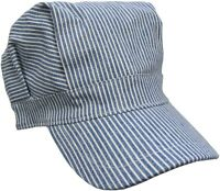 Child Engineer Railroad Train Conductor Hat Blue And White Cotton Adjustable
