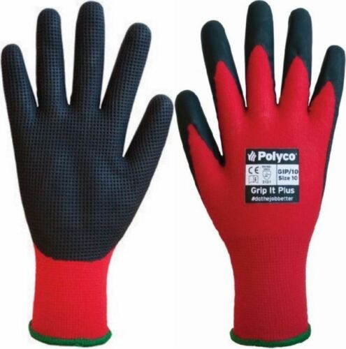 Polyco Grip It Plus Waffle Latex Extra Grip Palm Work Gloves Gardening Builders