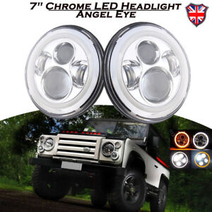2x-Angel-Eye-7-034-LED-Projector-Headlight-Halo-Ring-For-LAND-ROVER-DEFENDER-90-110