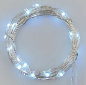 Stringa-serie-50-luci-di-Natale-micro-led-bianco-ghiaccio-a-batterie-impermeabil