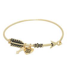Gold Tone Arrow Charm Bangle Latch Bracelet