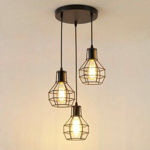 Edison Lampe 3 Way Design Noir Plafond Pendentif Montage Ampoules abat-jour UK