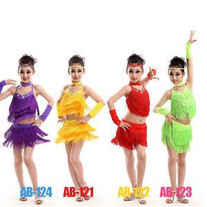 a56e88650166 Image is loading Girls-Tasseled-Latin-Salsa-Dancing-Dress-Kids-Ballroom-