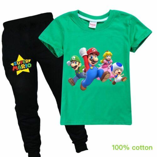 2PC Super Mario Luigi Toad Boy Girl Top T-Shirt Pant Suit Kids Birthday Gift