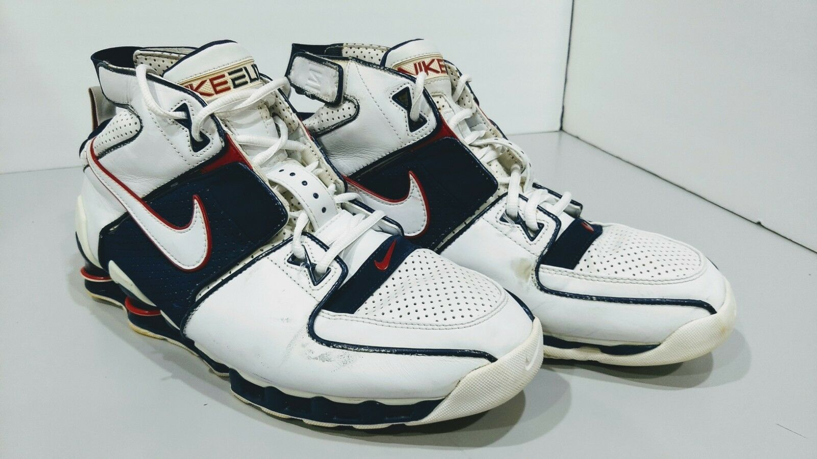 2004 NIKE 310375 142 ELITE SHOX White  bluee High Top Basketball SHOES size US 14