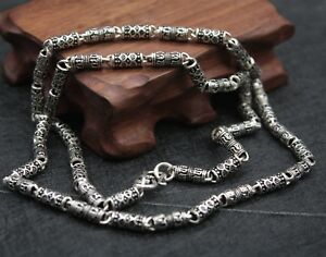 """17.7/""""L New Classic S925 Silver Necklace 4.5mmW Lucky Maxim Bead Link Man/'s Chain"""