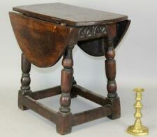 A VERY RARE 17TH C PILGRIM PERIOD DROP LEAF JOINT STOOL TABLE WITH CARVED APRONS