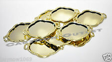 12 PC GOLD PLASTIC TRAY PLATTER WEDDING FAVORS TABLE DECORATIONS QUINCEANERA