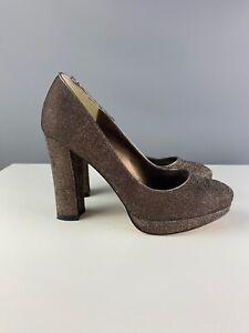 black sparkly block heel shoes
