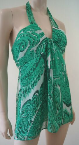 Green Neck Evening Silk Of Halter New amp; Boned York Us6 White Uk10 Milly Top vYtHnAzxz