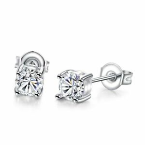 925-Sterling-Silver-Round-Cut-Clear-Cubic-Zirconia-Stud-Earrings-New