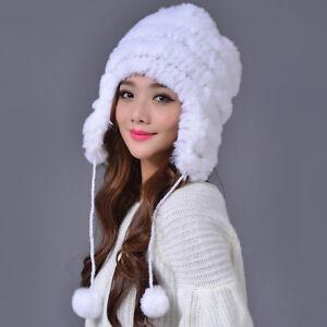 95d11580c5b51 Real Rex Rabbit Fur Knitted Hat Women Winter Ear Protector Cap ...