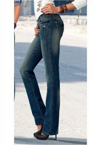 4Wards Jeans Gr.34 NEU Damen Stretch Original Blau Used Hüft Gerade Hose L32
